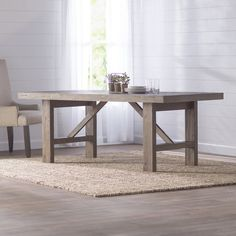 High class coastal style finds a home in Laurel Foundry's Kara Collection. The sandblasted bases for the tables are complimented perfectly trestle table for a solid wood look. Diy Dining Room Table, Dining Table Online, Rectangle Dining Table, Solid Wood Dining Table, Diy Table, Kitchen Dining, Trestle Table, Dining Tables, Furniture Sale