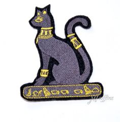 Egyptian Pharoah Cat Black Gold Embroidered Iron On Patch MTCoffinz $6