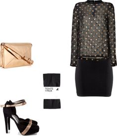 black and rose gold fashion inspiration. polka dot top, rose hold purse + glittery heels.