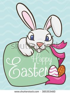 Cute colorful Easter bunny with greeting message in wave pattern background.