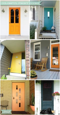 brightly painted front doors