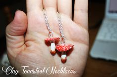 Polymer Clay Toadstool Necklace  Handpainted   Woodland di TNandCK