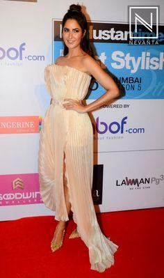 #KatrinaKaif in a strapless #AntonioGrimaldi's beige slit dress
