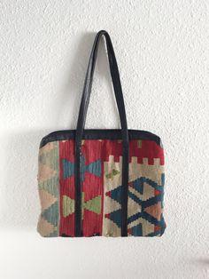 Vintage Kilim Bag   Tote   Turkish   Wool   Leather by 01JACKSON Tote Táska 8e87fa59e2
