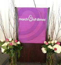 Amazing floral arrangements for the podium at Hartford's March of Dimes #floralarrangements #decor
