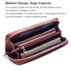 Fabulous Women/'s Wrist-let Purse Wallet Zip Around Credit Card Cash Coin Mobile