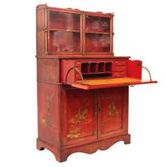 19th c. Red Chinoiserie Secretary Cabinet