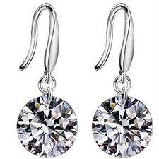 Sterling Silver Fancy Dangle Crystal Earrings