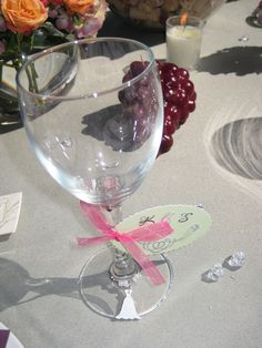 Wine Bridal Shower - Wine Glass Favors with charms and tags
