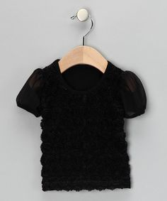Take a look at this Black Rosette Tee - Infant, Toddler & Girls by Share n' Smiles on #zulily today!