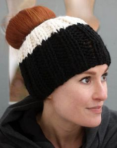 Free Knitting Pattern for Ribbed Messy Bun Hat - Easy ponytail hat knit in simple ribbing is a quick project in super bulky yarn. Designed by Gina Michele