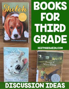 Discussion ideas for three books that are perfect for third grade! Because of Winn-Dixie, Shiloh, and White Fur Flying.