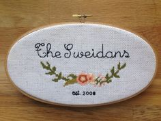 Custom Family Name/ Birth Announcement Cross Stitch