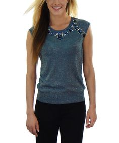 Look at this Blue Bejeweled Sleeveless Top on #zulily today!