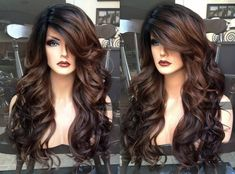 Brown lace wig // ombre lace front heat safe auburn wig // fake part curly wig Balayage Auburn, Auburn Ombre, Auburn Brown, Dark Ombre, Auburn Hair, Balayage Straight Hair, Balayage Hair, Wig Hairstyles, Wedding Hairstyles