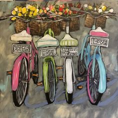 56 new Ideas vintage bike painting bicycle art Bicycle Painting, Bicycle Art, Bicycle Design, Bike Illustration, Paint By Number, Watercolor Art, Art Drawings, Art Projects, Canvas Art
