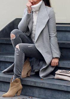 le gris s'associe très bien au pull chaud femme, ajoutez des bottines en velours pour un look encore plus stylé
