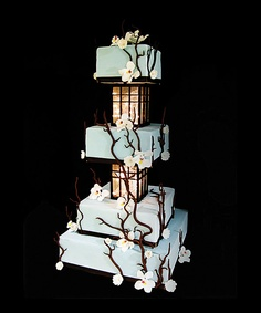 Tiffany-blue rolled fondant with delicate branches, orchids, cherry blossoms and lighted Japanese lanterns. a very elegant wedding cake. Cherry Blossom Cake, Cherry Blossom Wedding, Cherry Blossoms, Japanese Wedding Cakes, Japanese Cake, Japanese Style, Beautiful Cakes, Amazing Cakes, Asian Inspired Wedding