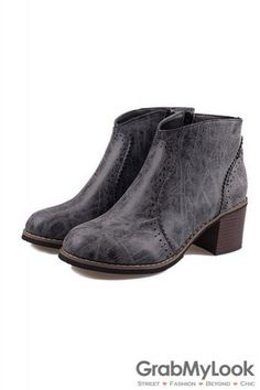 Vintage Black Brown Leather Classic Wooden Sole Ankle Women Flats Boots Shoes