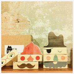 Fun wooden face blocks from Little Wood