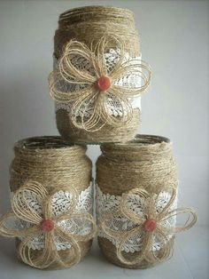 Twine wrapped jars ❤️