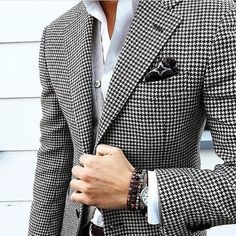 Tailored Houndstooth Jacket | Grey Button Up Sweater | Pocket Square | Tailored Outfits | Smart Wear