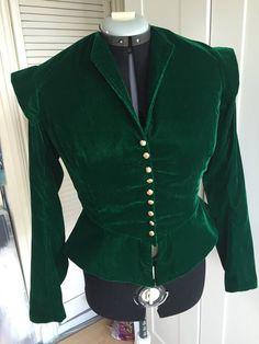 Shakespearean costume in green sparkle velvet - doublet only