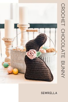 Crochet Chocolate Bunny - free pattern & video tutorial This crochet chocolate bunny is a simple, easy level project that's perfect for Easter and spring home decor. The free pattern also includes a video tutorial! Easter Bunny Crochet Pattern, Holiday Crochet Patterns, Crochet Ideas, Easter Projects, Easter Crafts, Easter Ideas, Bunny Crafts, Easter Decor, Easter Gift