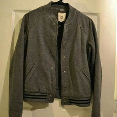 Forever 21 Gray Varsity Jacket Snap closure -- lightweight Forever 21 Jackets & Coats