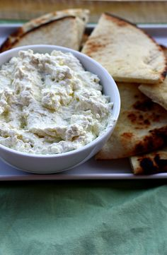 Tyrokafteri (Spicy Feta Cheese Spread). I use a bit of freshly squeezed lemon juice instead of vinegar and red peppers instead of banana peppers