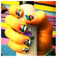 Nail design colorful stripes!