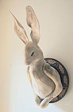 Large Textile Wall Hare By Mister Finch (l would love this in the kids room!) :D felt art project? aw