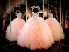 2016 Cheap Peach Quinceanera Ball Gown Dresses Jewel Neck Crystal Beaded Organza Ruffles Long Sweet 16 Formal Party Dress Prom Evening Gowns