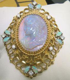 Vintage 14k Solid Gold Carved Opal Cameo Diamond Large Brooch Pendant Open Work | eBay