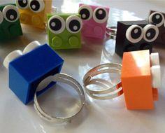 LEGO® Googly Eye Ball Brick Ring Party Favor by bricksNblocks