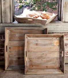 Reclaimed wood creates the unique look of each of these delicious trays. Sold as a set of three, our Reclaimed Wood Tray Set is a versatile piece for entertaini Woodworking Furniture, Wood Furniture, Woodworking Projects, Luxury Furniture, Woodworking Apron, Furniture Buyers, Furniture Cleaning, Furniture Dolly, Furniture Showroom