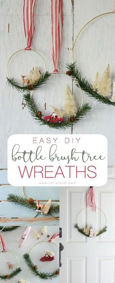 diy bottle brush tree christmas wreath