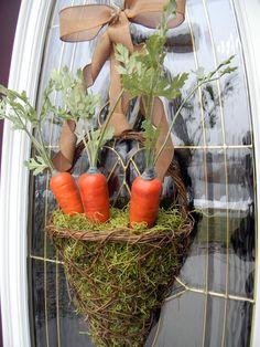 "Easter Grapevine Spring Door Basket Wreath Decor..""Tasty Carrots""."