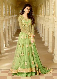 Light Green Colored Long Designer Embroidered Anarkali Suit