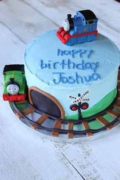 : Thomas the Train Birthday Cake This with a bottom layer to it. Thomas Train Birthday Cake, Thomas Birthday Parties, 2 Birthday Cake, Trains Birthday Party, Birthday Boys, Train Party, Birthday Ideas, Pumpkin Patch Party, Thomas Cakes