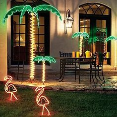 Rope Light Palm Trees with Flamingos!