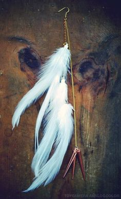 White Arrow Long White Feather Earring by francisfrank on Etsy