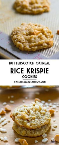 Butterscotch Oatmeal Rice Krispie Cookies These Rice Krispie cookies are packed with chewy oatmeal, sweet butterscotch chips, and crispy Rice Krispies cereal. No dough chilling required, making these super fast to whip up. Cookies Receta, Yummy Cookies, Yummy Treats, Sweet Treats, Beaux Desserts, Köstliche Desserts, Delicious Desserts, Dessert Recipes, Health Desserts