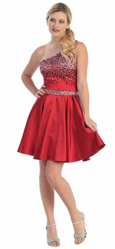 Cute Little One One Shoulder Red Party Dress Sequin Beads Short
