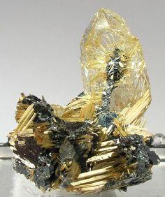 Rutile with Quartz and Hematite
