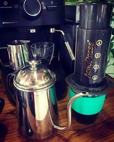 I have a friend at work who loves making coffee by all kinds of coffee makers. #aeropress#coffeemaker http://ift.tt/1Vbg53z