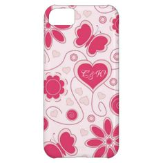 Cute Butterfly & Hearts iPhone 5C Barely There Case. Add your monogram on heart.