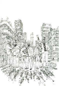 Kim Jung Gi | «Agents Provocateurs» : The Cover !!! Comic Manga, Comic Art, Junggi Kim, Kim Jung, Amazing Drawings, Korean Artist, Comic Book Artists, Line Art, Concept Art