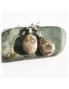 Petoskey stone earrings with Sterling Silver posts by SimplyWired4u
