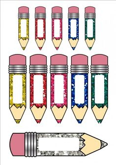 3 different sized pencil name tage/cards.1. 10 small sized per page pencils for name tags2. 5 medium sized per page3. 2 large pencils per page.I like to use the big templates for my kid's baskets and